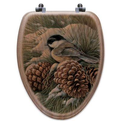 December Dawn Chickadee Oak Elongated Toilet Seat