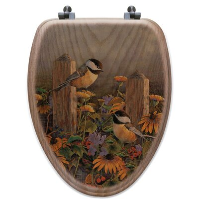 Lindas Chickadees Oak Elongated Toilet Seat
