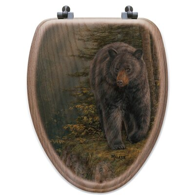 Rocky Outcropping Bear Oak Elongated Toilet Seat