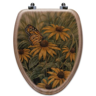 Monarch Butterfly Oak Elongated Toilet Seat