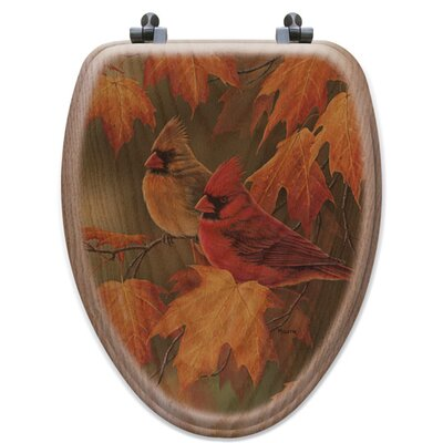 Maple Leaves and Cardinals Oak Elongated Toilet Seat