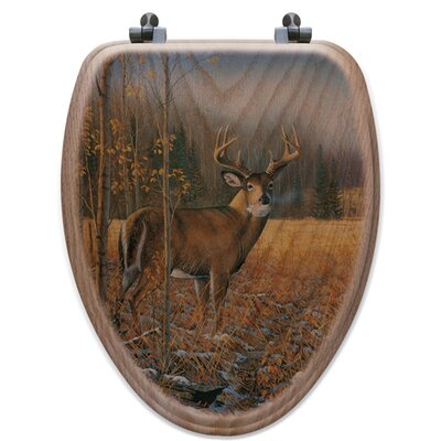 November Whitetail Deer Oak Elongated Toilet Seat