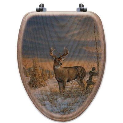 Whitetail Deer in Winter Oak Elongated Toilet Seat