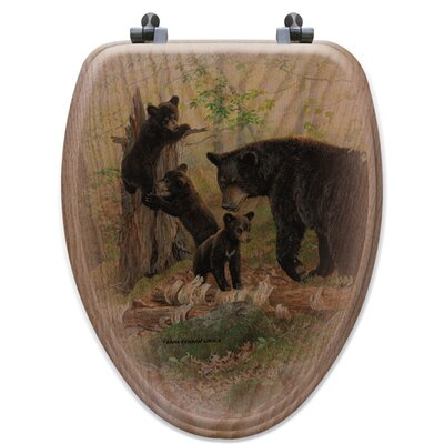 Playtime Bears Oak Elongated Toilet Seat