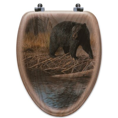 No Trespassing Oak Elongated Toilet Seat
