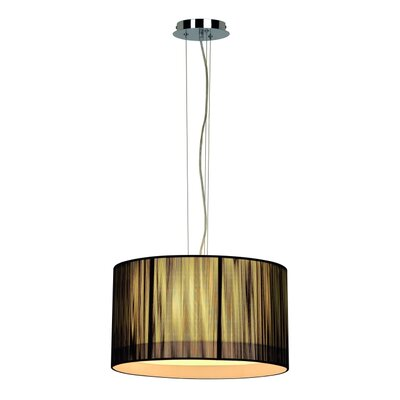 Lasson 3-Light Drum Pendant Shade Color: Black