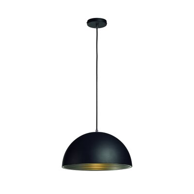 Forchini 1-Light Bowl Pendant Shade Color: Black/Silver