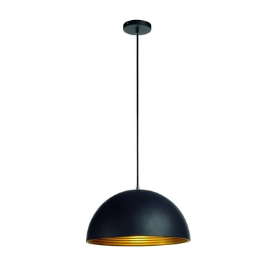 Forchini 1-Light Bowl Pendant Shade Color: Black/Gold