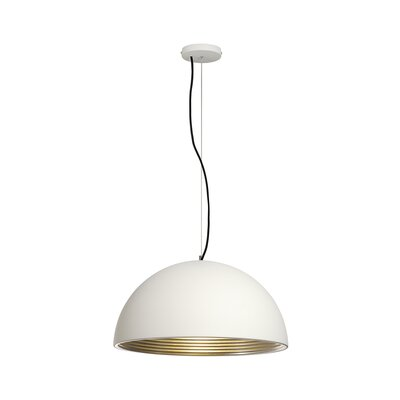 Forchini 1-Light Bowl Pendant Shade Color: White/Silver