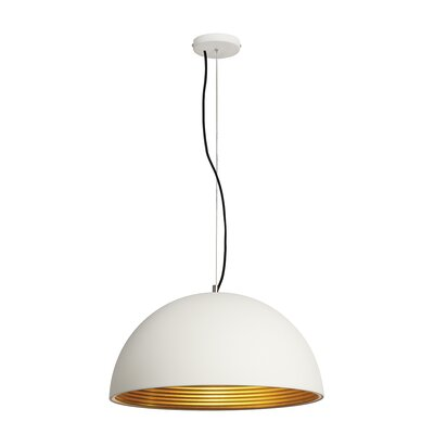 Forchini 1-Light Bowl Pendant Shade Color: White/Gold