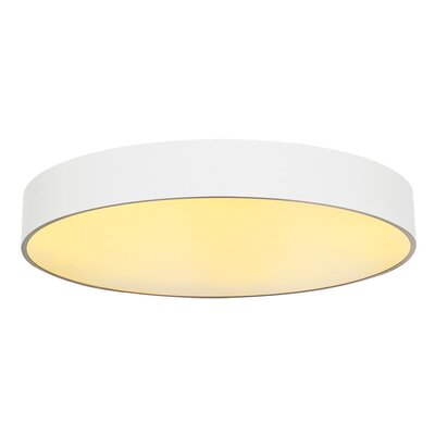 Rhymer Contemporary 1-Light LED Flush Mount Fixture Finish: White, Size: 4.92 H x 35.4 W x 35.4 D