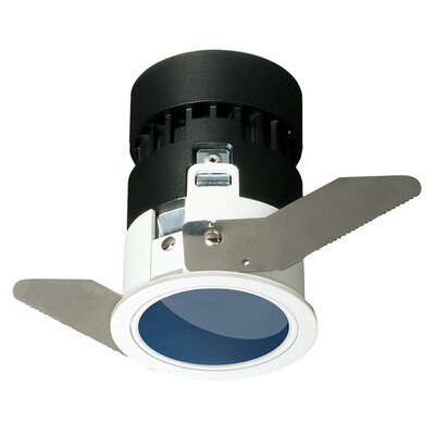 Mini Tria Wall Wash Recessed Housing with Round Trim Finish: Dark Blue