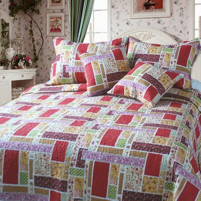 Colorful Quilt Set Size: King, Color: Red