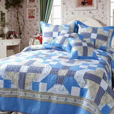 Abstract Star 3 Piece Reversible Twin Quilt Set