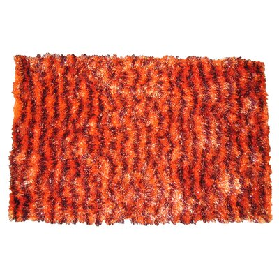 Shaggy Stripe Doormat Color: Orange/Brown