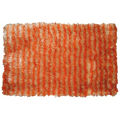 Shaggy Stripe Doormat Color: Cream/Orange