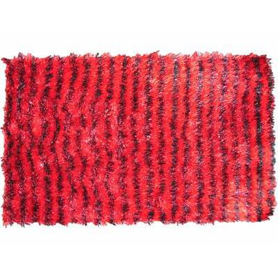 Shaggy Stripe Doormat Color: Red/Black