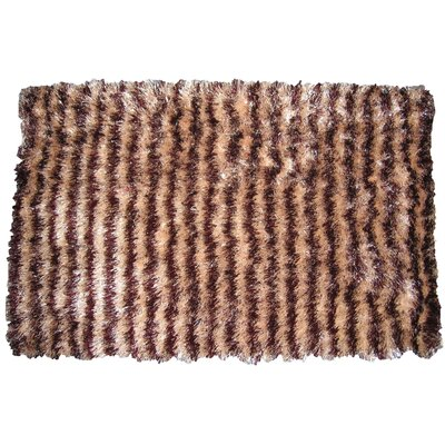 Shaggy Stripe Doormat Color: Dark/Light Brown