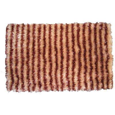 Shaggy Stripe Doormat Color: Beige/Brown