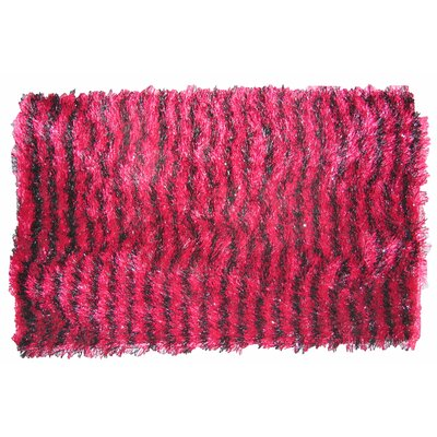 Shaggy Stripe Doormat Color: Burgundy/Black