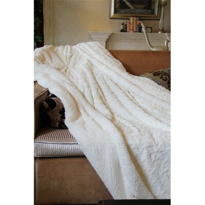 """Luxury Roses White PV Faux Fur with Sherpa Throw Blanket Size: 60"""" H x 50"""" W x 1"""" D"""
