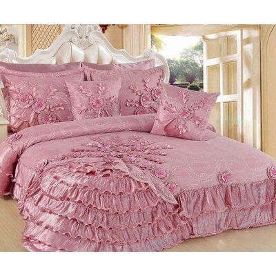 Pink Blooming 5 Piece King Quilt Set