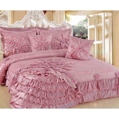 Pink Blooming 5 Piece King Quilt Set
