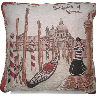 Postcard of Venice Cotton Throw Pillow Cover