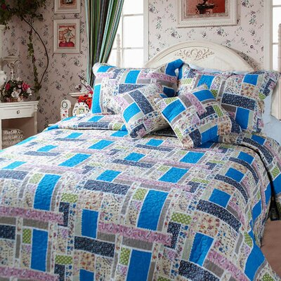 Colorful Quilt Set Color: Blue, Size: Twin