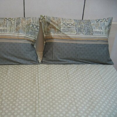 Checkered 200 Thread Count Cotton Fitted Sheet Set Size: Queen