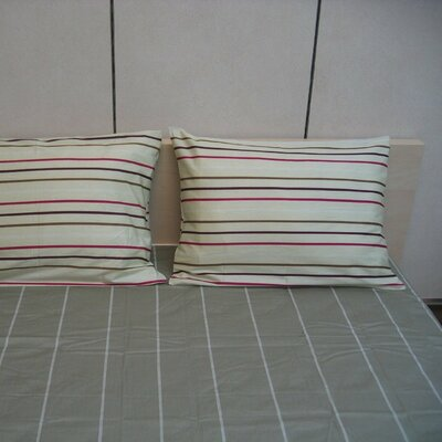 Striped 200 Thread Count Cotton Flat Sheet Set Size: Queen
