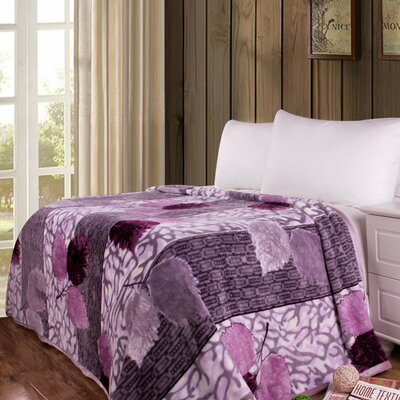 Orchid Blossoms Print Reversible Soft Warm Throw Blanket Size: 90 L x 66 W