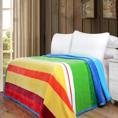 Solid Striped Rainbow Print Reversible Soft Warm Throw Blanket Size: 90