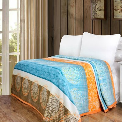 Papaya Beach Print Reversible Soft Warm Throw Blanket Size: 60