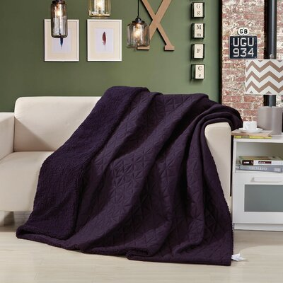 Reversible Patchwork Sherpa Back Throw Blanket Size: Twin, Color: Purple