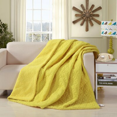 Reversible Patchwork Sherpa Back Throw Blanket Size: Twin, Color: Yellow
