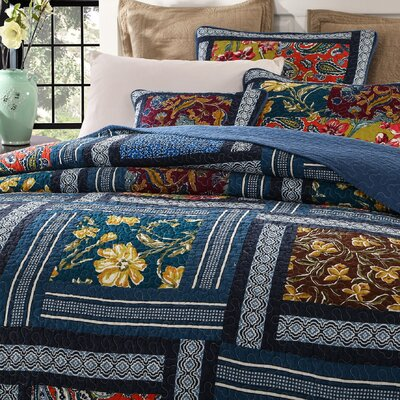 Bohemian Floral Real Patchwork Quilt Set Size: King