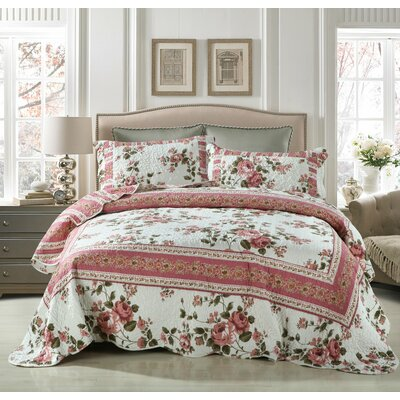 Bohemian Cottage Roses Reversible Patchwork Quilt Set Size: California King