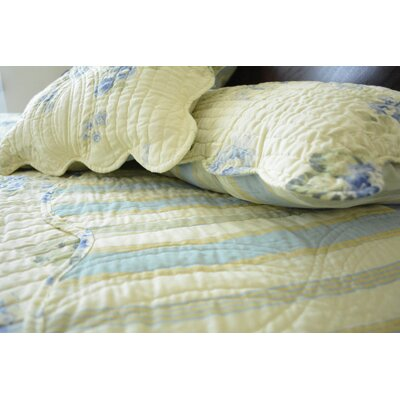 Camellia 3 Piece Classic Spring Real Patchwork Reversible Striped Back Quilt Set Size: Queen
