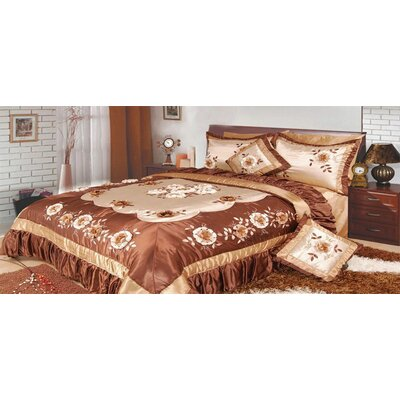 Bronze Flowers 5 Piece King Comforter Set