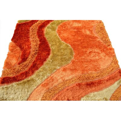 Shaggy Carpet Rug Size: 5 x 8, Color: Orange