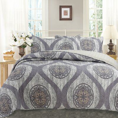 Classical Mosaic Medallion Reversible Cotton Bedspread Set Size: Queen