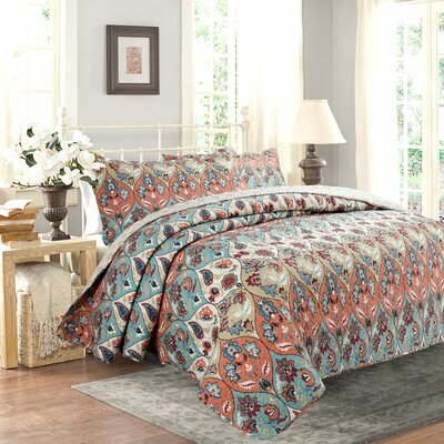 Bohemian Paisley Garden Party Reversible Quilt Set Size: Twin