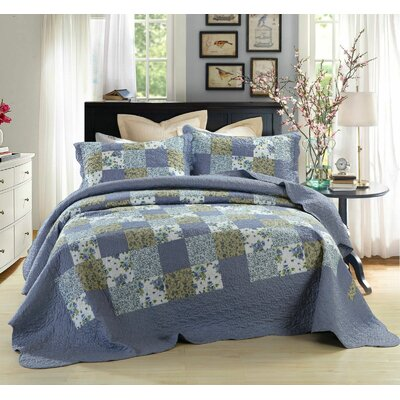 Rustic Country Cottage Reversible Flannel 2 Piece Twin Quilt Set