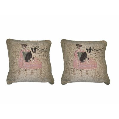 Royal Dogs French Bulldog Beagle Elegant Novelty Woven Throw Pillow