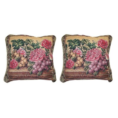 Romantic Parade of Fruit and Roses Floral Elegant Novelty Woven Throw Pillow
