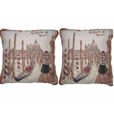 Postcard of Venice Elegant Novelty Woven Throw Pillow