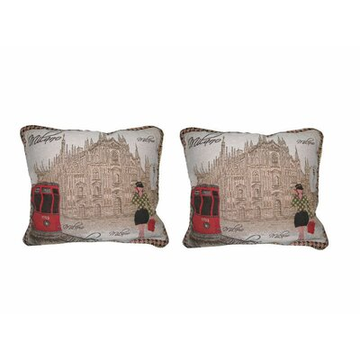 Postcard of Milan Elegant Novelty Woven Throw Pillow