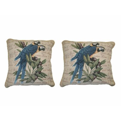 Parrots in Love Elegant Novelty Woven Throw Pillow