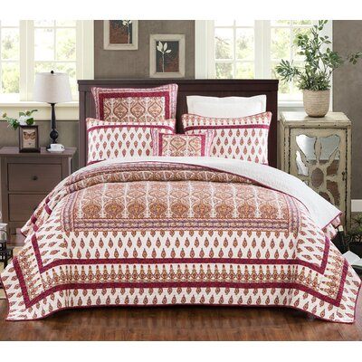 Santa Fe Bohemian Tear Drop Rubies Paisley Cotton Quilt Set Size: Queen